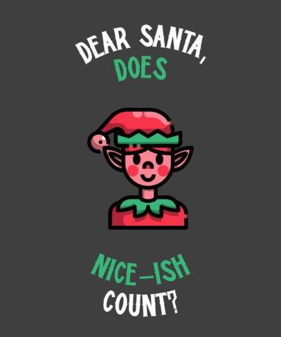 Funny T-Shirt Design Creator with a Christmas Elf Clipart 316c-el
