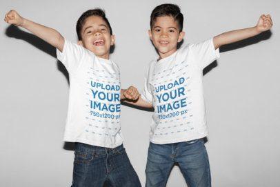 T-Shirt Mockup of Twin Boys Having Fun 31006