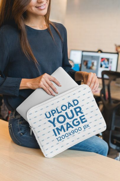 Laptop Sleeve Mockup of a Woman with a Computer 30849