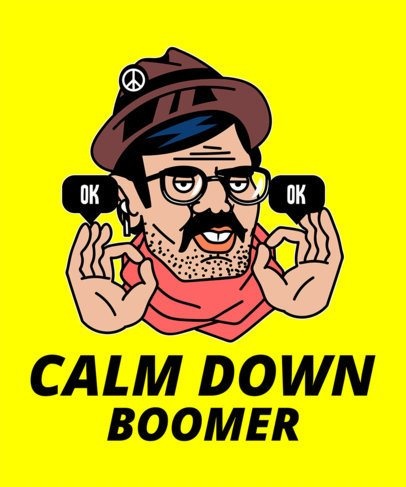 T-Shirt Design Template Featuring Illustrations Making Fun of Boomers 2076