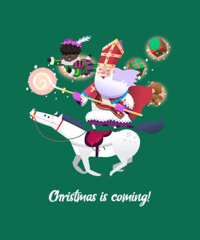 Christmas T-Shirt Design Template Featuring Saint Nicholas 174a-el