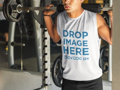 Tank Top Mockup of Young Muscular Man at the Gym a8153