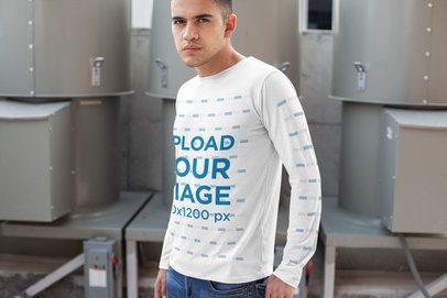 Long Sleeve T-Shirt Mockup of a Serious Man Against a Metal Structure 30881
