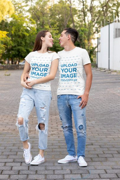 T-Shirt Mockup of a Couple Sticking Their Tongues Out 30746