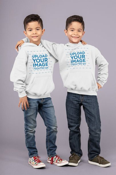 Pullover Hoodie Mockup Featuring Twin Brothers Hugging 30997