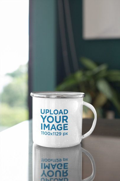 Mockup of a Customizable 12 oz Enamel Mug with a Silver Rim 30844