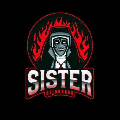 Horror Logo Creator with a Diabolic Nun Clipart 2786q