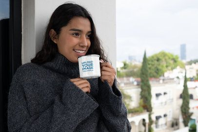 Mockup of a Woman Drinking Coffee From a Silver Rim Enamel Mug 30830