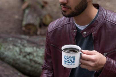 Silver Rim Enamel Mug Mockup Featuring a Cropped Face Bearded Man 30818