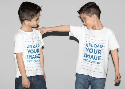 T-Shirt Mockup Featuring Twin Brothers Playing in a Studio 31007