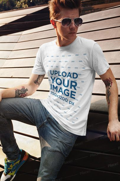 T-Shirt Mockup of a Tattooed Man with Sunglasses Posing 2195-el1