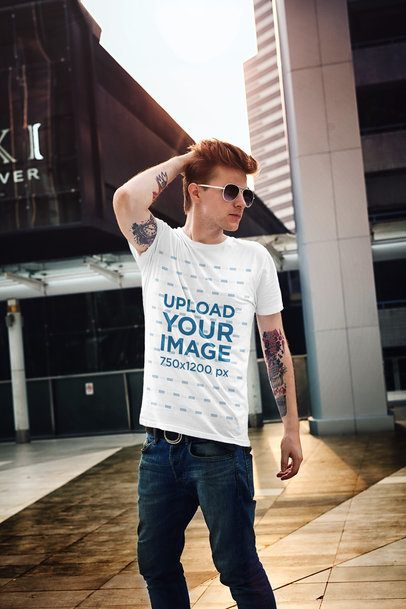 T-Shirt Mockup of a Tattooed Man with Swag 2196-el1