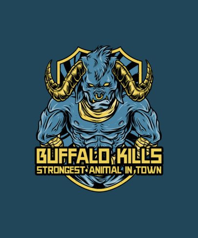 T-Shirt Design Generator with a Strong Buffalo Illustration 38a-el1