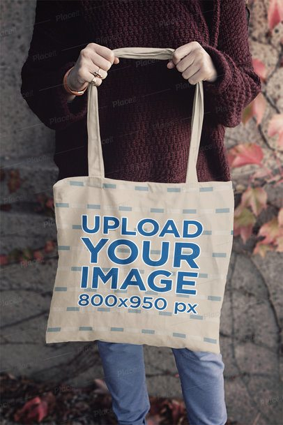 Mockup of a Woman Holding a Tote Bag by the Strap 1991-el1