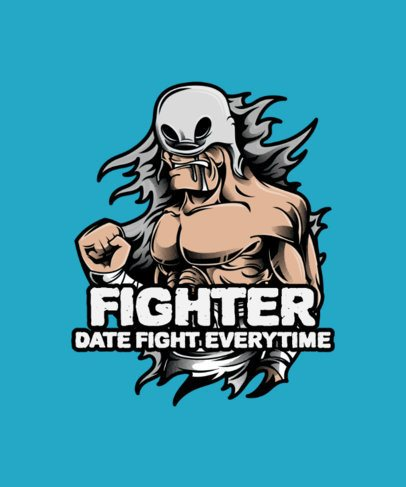 Wrestling T-Shirt Design Template Featuring a Masked Fighter 38h-el1