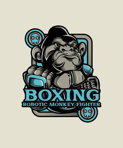 Boxing T-Shirt Design Generator Featuring an Angry Gorilla Clipart 38j-el1