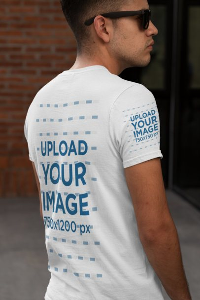 T-Shirt Sleeve Mockup Featuring a Man with Sunglasses 30880