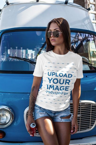 T-Shirt Mockup Featuring a Woman Leaning on a Vintage Van 2259-el1