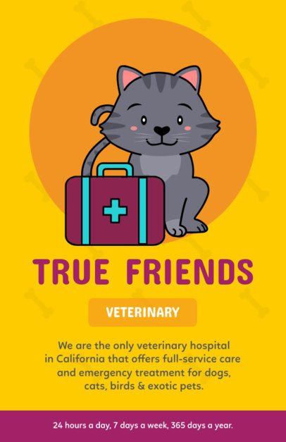Online Flyer Maker for a Veterinary with a Cat Illustration 396i-2123