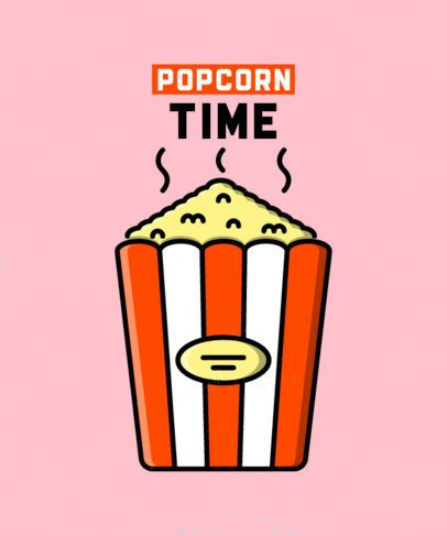Movie-Themed T-Shirt Design Maker Featuring a Popcorn Clipart 490c-el1