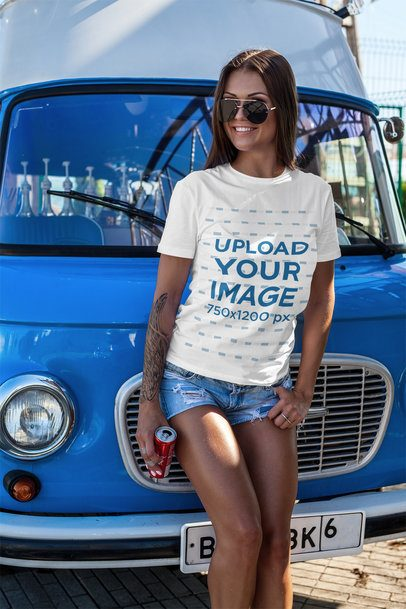 T-Shirt Mockup Featuring a Woman Leaning on a Van 2265-el1