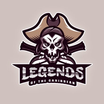 Logo Template with a Pirate Skull with Two Swords 2811f
