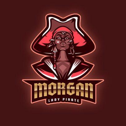 Gaming Logo Maker Featuring an Audacious Female Pirate 2811g