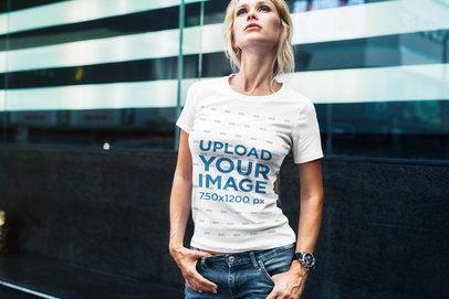 T-Shirt Mockup Featuring a Fashionable Woman Posing 2233-el1