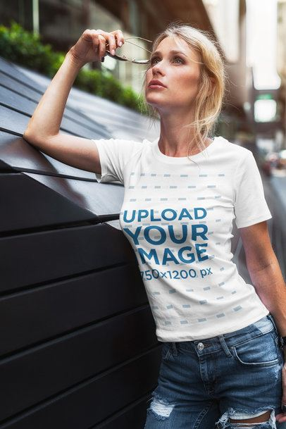 T-Shirt Mockup of a Woman Looking at the Sky 2235-el1