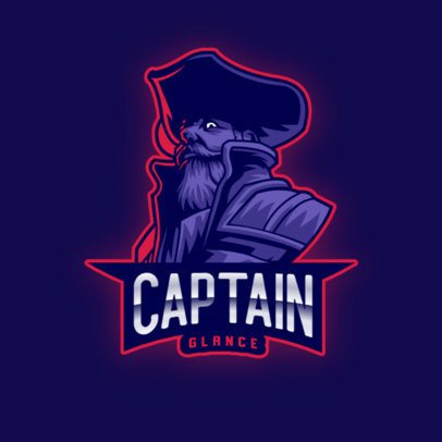 Illustrated Gaming Logo Maker with a Tough Captain 2811x