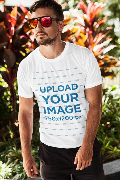 T-Shirt Mockup Featuring a Bearded Man With Sunglasses Posing in Front of Some Plants 2248-el1