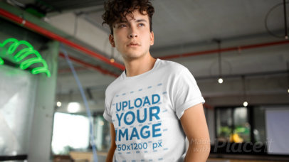 Stop Motion Video of a Curly-Haired Man Wearing a T-Shirt 22469