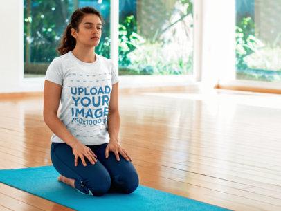 T-Shirt Mockup Template of a Woman Doing Yoga 8605
