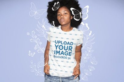 Sublimated Tee Mockup Featuring a Serious-Looking Woman with Natural Hair 31141