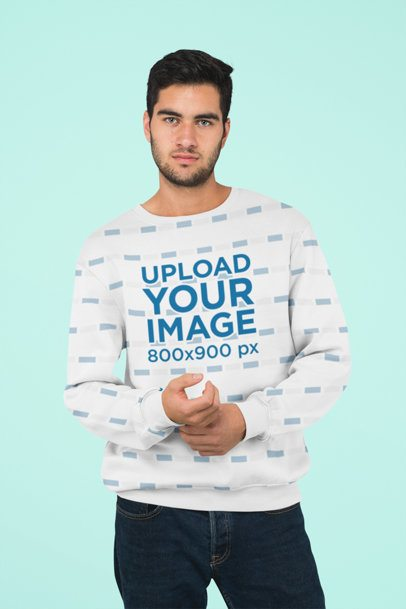 Sublimated Crewneck Sweatshirt Mockup Featuring a Serious Bearded Man at a Studio 31251