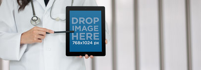Tablet Mockup of a Female Doctor Using an iPad a6000