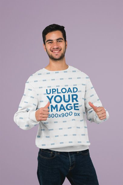 Sweatshirt Mockup Featuring a Man with Thumbs Up 31254