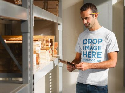 T-Shirt Mockup Featuring a Young Carpenter at Work 8708