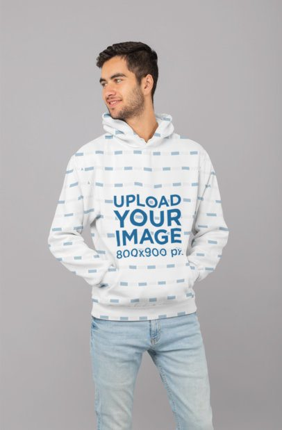 Sublimated Hoodie Mockup Featuring a Smiling Man at a Studio 31266