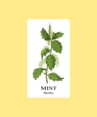 Herbal T-Shirt Design Template Featuring a Mint Illustration 206b-el1