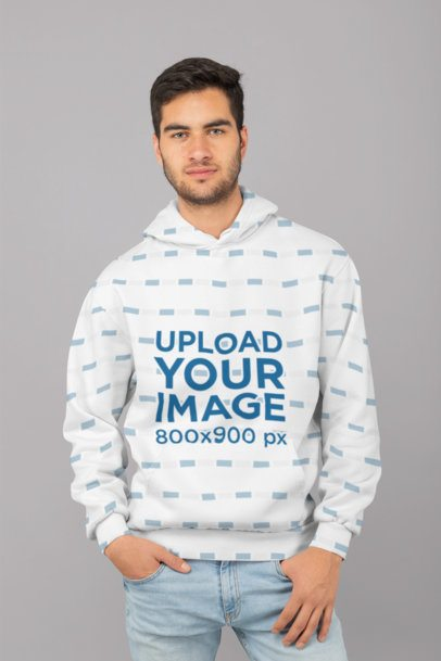 Sublimated Hoodie Mockup Featuring a Serious Man in a Studio 31269