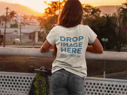 T-Shirt Mockup of a Skater Girl Watching The Sunset  8922a