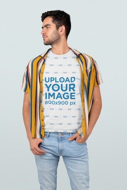 T-Shirt Mockup of a Man in a Modern Outfit 31262