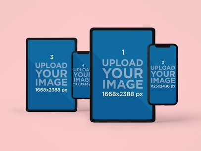 Responsive Mockup of a Pair of iPhone 11 Pro and a Pair of iPad Pro Devices 2034-el1