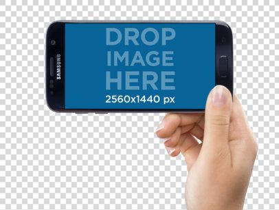 Samsung Galaxy S7 in Landscape Position Held by a Woman Mockup a11638