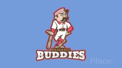 Animated Sports Logo Maker Featuring a Cartoonish Baseball Player 172f