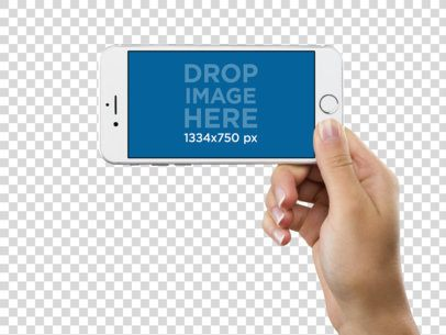 Mockup of a White iPhone 6s Held in Lanscape Position Over a PNG Background by a Woman a11636