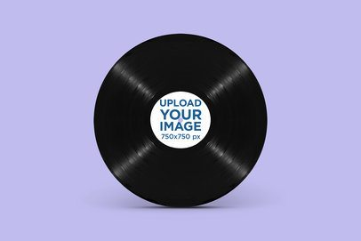 Minimal Mockup Featuring a Vinyl Record Standing Against a Solid Color Backdrop 2346-el1