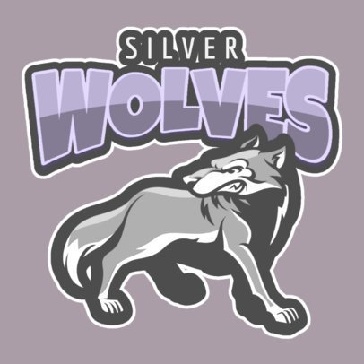Sports Logo Maker with a Silver Wolf Illustration 120l-2862