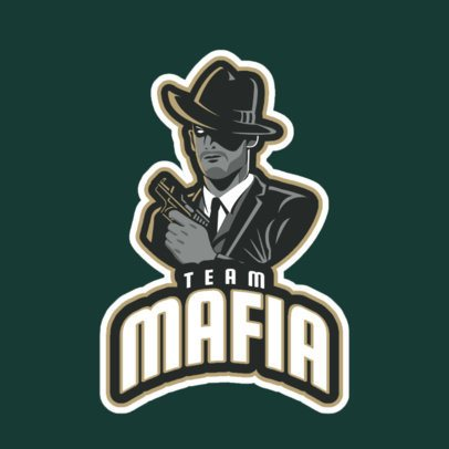 Gaming Logo Generator Featuring a Mafia Gangster Clipart 29o-2858